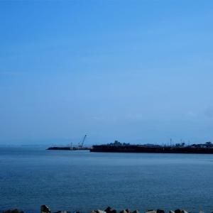 西岸堤防を遡る、西岸の低い平地は夏から秋へ・・・・富山市常願寺川河口近くの西岸