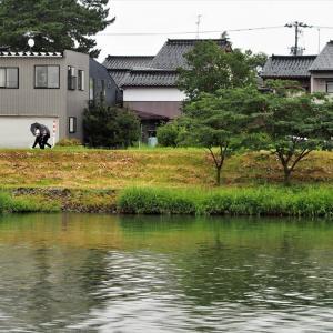 雨の日の昼頃、下校の中学生、みすみ園・・・富山市水橋