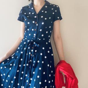 パリジェンヌ気分のトリコロール、水玉模様のシャツドレスを着てみました♪