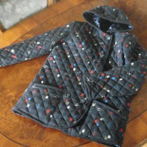 ウール着物 de キルティング・フード付きジャケット 2 紺・絣