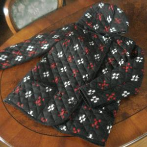 ウール着物 de キルティング・フード付きジャケット 4 黒・絣