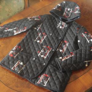 ウール着物 de キルティング・フード付きジャケット 6 紺・絣