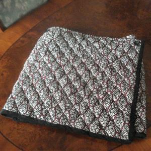 ウール着物 de キルティング・オーバースカート 5 黒系・小紋 制作過程 1