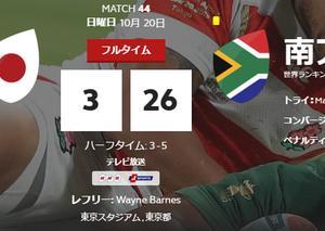 ラグビーワールドカップ2019 日本3-26南アフリカ