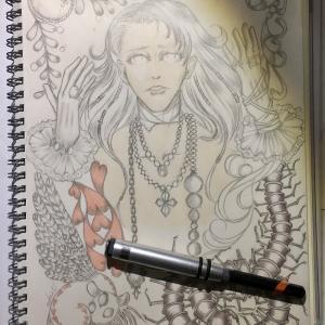 色鉛筆mix110 下描きの続き