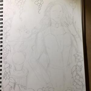 色鉛筆mix114 下描き中とインクトーバー