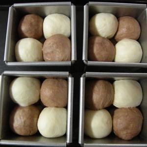 試作:市松模様プチ角食パン(*^-^*)