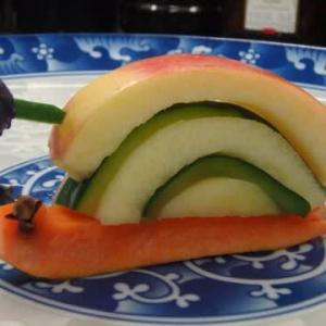第2弾:新型コロナ参戦か?「ローカルの厚揚げの生姜焼き」と「リンゴのカニさん」と「カタツムリちゃん」