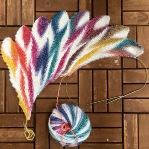 完成: Rainbow Wing Shawl