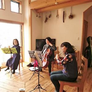 先日モデルハウスを利用して楽器演奏練習が行われていました♪