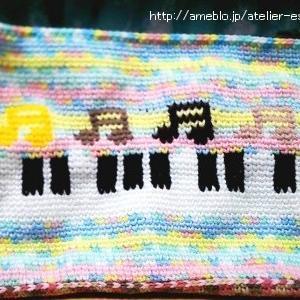 音符&鍵盤のレッスンバッグ *かぎ針編み*