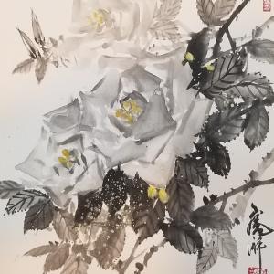 水墨で薔薇を