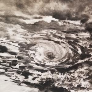 鳴門海峡の渦潮を描く