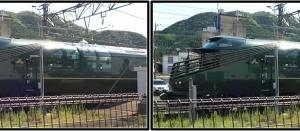 3D版の長編集で綾部駅を通過するトワイライトエクスプレス瑞風とゆっくり並走しながらの映像を制作する
