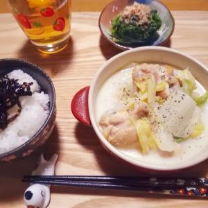 手羽元と白菜の豆乳スープ