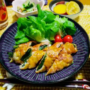 小松菜の肉巻きカレーじょうゆ定食