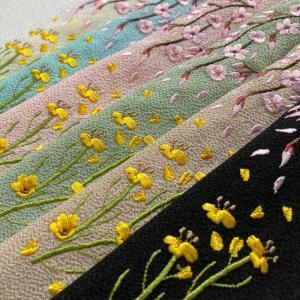 ★ 桜と菜の花の刺繍半襟★
