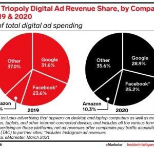 米国のデジタル広告市場における、Amazonの売上シェアが、2020年に、10%を超えた。'21.07.28