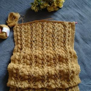 透かし模様編みのショール進捗状況♪**