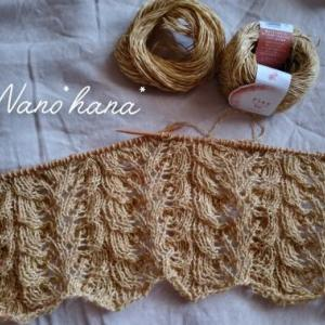 透かし模様編みのショール編み始めました♪**