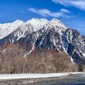 雪のない穂高 一月の上高地にて