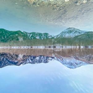 iPhone11pro 超広角レンズで撮る  上高地・大正池リフレクション