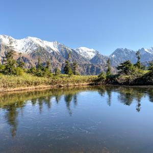 冠雪の穂高を望む 11月の鏡平