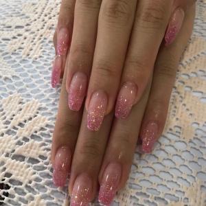 ピンクのラメグラデ♡