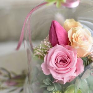 お花をガラスドームに閉じ込める♬