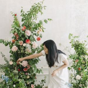 大きな装花のオンラインレッスン