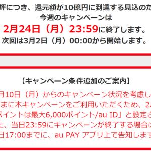 がーん!auPay 20%還元は1日の上限が6000ポイントに減った!今回も1日で終了!