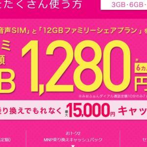 複数台でお得! 12GBシェアで3台でも6か月、月1280円!キャッシュバックも!