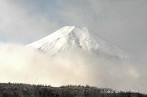 『 酷寒の幻想富士 』 ( 忍野村・芝草 )