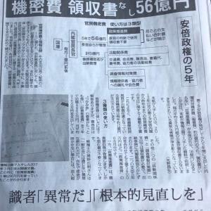 安倍政権の5年間で領収書なしの官房機密費を56億円も使っていたと赤旗がスクープ!