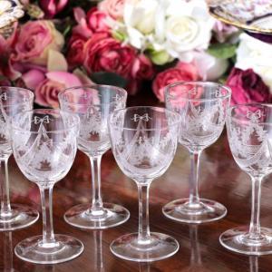 ♪♪本日のおすすめ !  リボンガーランド アシッドエッチング アペリティフグラス2客セット