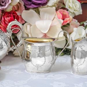 純銀製 1909年 リボンガーランド バチェラーサイズ クリームジャグ&シュガーポット