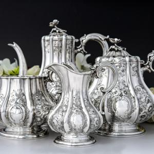 純銀製 1855年 特級 エルキントン お花の摘み お花の彫刻が華麗なティー&コーヒー4点セット