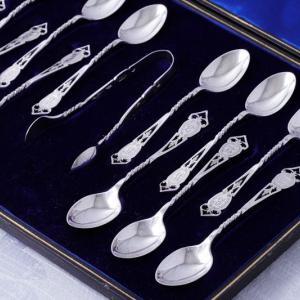 純銀製 1912年 透かしとねじりハンドル ティースプーン 6本 & シュガートングセット