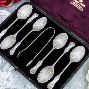 純銀製 1893年 マッピン&ウェッブシェル型 ティースプーン6本&シュガートング セット