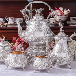 純銀製(925)1889年 希少 特級 ルイスタイル ティー&コーヒー、ティーケトル 5点セット
