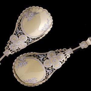 シルバープレート製 透かし細工 白蝶貝ハンドル ヴィクトリアン サービングカトラリーセット