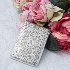 純銀製(925)スクロールのハンドエングレービング チェーンホルダー付き カードケース
