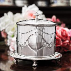 シルバープレート製 ヴィクトリアン お花のガーランド 小さ目 ビスケットボックス