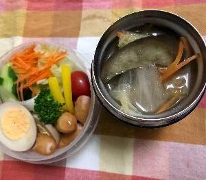 *茄子、白菜、厚揚げのお味噌汁弁*