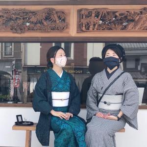 【着物コーデ】手作りマスクと着物♡