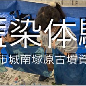 [藍染体験]動画 生の藍たでの葉を使った藍染体験☆熊本市城南塚原古墳公園