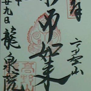 【2013年11月の記事】8月29日  高野山龍泉院(和歌山県高野町)でいただいた御朱印