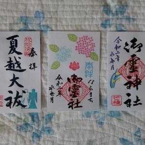 6月1日 御霊神社(奈良市)でいただいた書き置き御朱印
