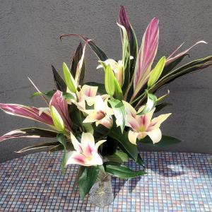 鮮やかなピンク系の生け花とアレンジメント♪