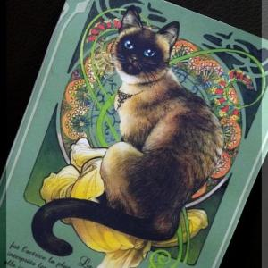素敵な! ミュシャ猫&アンティークフラワー♪